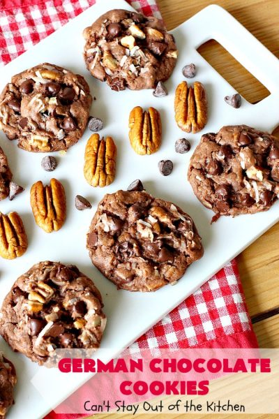 German Chocolate Cookies   Can't Stay Out of the Kitchen   these luscious #cookies use only 6 ingredients since they start with a #CakeMix. If you enjoy #GermanChocolateCake this #dessert is for you! #coconut #pecans #chocolate #GermanChocolateCookies #ChocolateChips #tailgating #holiday #ChristmasCookieExchange #HolidayBaking