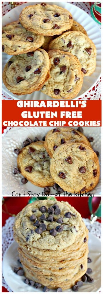 Ghirardelli's Gluten Free Chocolate Chip Cookies | Can't Stay Out of the Kitchen | these fabulous #ChocolateChipCookies are made with #GlutenFree flour & #GhirardellisChocolateChips. Mouthwatering & scrumptious treat for #holiday #baking. #ChristmasCookieExchange #Chocolate #ChocolateChips #GlutenFreeDessert #ChocolateDessert #GhirardellisGlutenFreeChocolateChipCookies #HolidayDessert #Ghirardellis