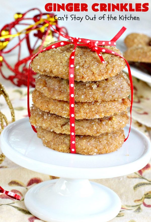Ginger Crinkles | Can't Stay Out of the Kitchen | these classic #cookies are favorites for #holiday baking and #Christmas cookie exchanges. #dessert