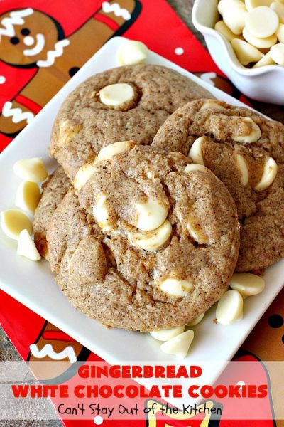 Gingerbread White Chocolate Cookies | Can't Stay Out of the Kitchen | this incredibly easy 5-ingredient #cookie recipe is heavenly. It's terrific for #holiday baking, #Christmas cookie exchanges & office parties. #dessert #gingerbread #chocolate