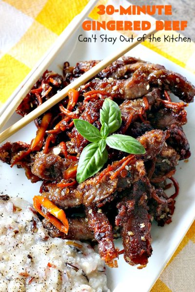 30-Minute Gingered Beef | Can't Stay Out of the Kitchen | this delicious #beef entree is ready in 30 minutes making it great for weeknight dinners. #Asian #glutenfree
