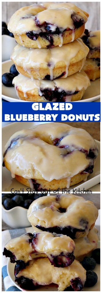Glazed Blueberry Donuts | Can't Stay Out of the Kitchen