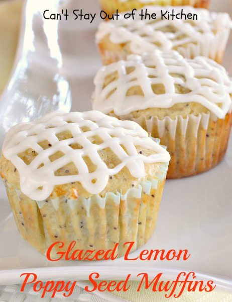 Glazed Lemon Poppy Seed Muffins | Can't Stay Out of the Kitchen