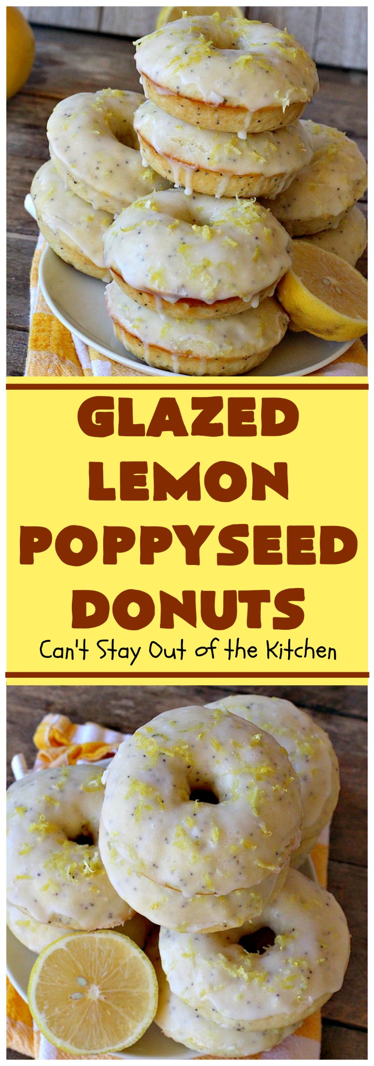Glazed Lemon Poppyseed Donuts | Can't Stay Out of the Kitchen