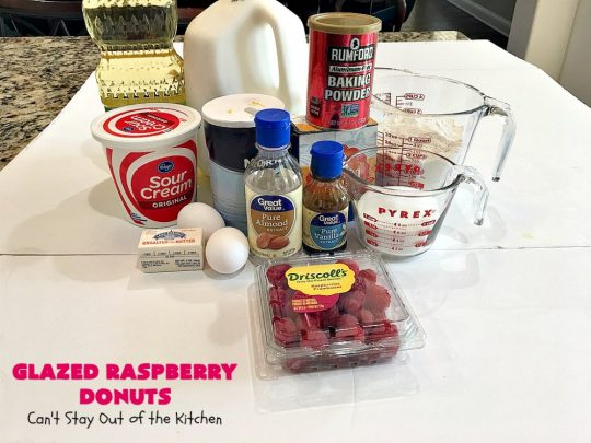 Glazed Raspberry Donuts | Can't Stay Out of the Kitchen | these heavenly #donuts are filled with fresh #Raspberries & both #vanilla & #almond extracts. The icing also includes both extracts. They will have you salivating from the first bite. Terrific for #ValentinesDayBreakfast. #Breakfast #Holiday #Raspberry #HolidayBreakfast #RaspberryDonuts #brunch #Christmas #HolidayBrunch #ChristmasBreakfast #FourthofJulyBreakfast
