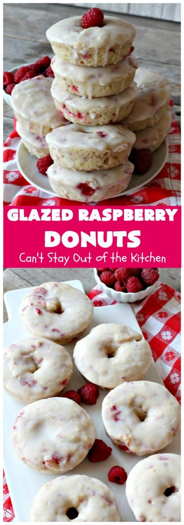 Glazed Raspberry Donuts | Can't Stay Out of the Kitchen
