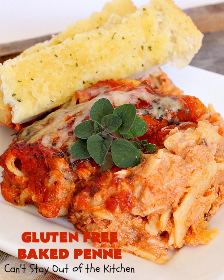 Gluten Free Baked Penne | Can't Stay Out of the Kitchen | You'll never believe you're eating #GlutenFree with this amazing #pasta entree. It's filled with 3 cheeses so it's hearty, filling & very satisfying comfort food. Our company raved over it. #RicottaCheese #MozzarellaCheese #ParmesanCheese #RonzoniGlutenFreePasta #GlutenFreePasta #MeatlessMondays #Italian