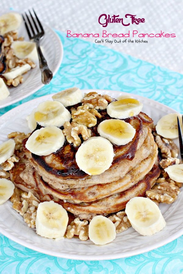 Gluten Free Banana Bread Pancakes | Can't Stay Out of the Kitchen | these enjoyable #pancakes are reminiscent of eating #bananabread! Great for a #holiday #breakfast. #bananas #walnuts