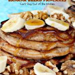 Gluten Free Banana Bread Pancakes   Can't Stay Out of the Kitchen   these luscious #pancakes remind you of homemade #BananaBread. They're filled with #bananas, #walnuts & cinnamon for extraordinary flavor. Plus they're made with #GlutenFree flour. Wonderful for a weekend, company or #holiday #breakfast. #BananaBreadPancakes #MapleSyrup #GlutenFreeBananaBreadPancakes