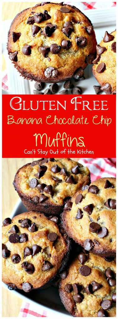 Gluten Free Banana Chocolate Chip Muffins | Can't Stay Out of the Kitchen