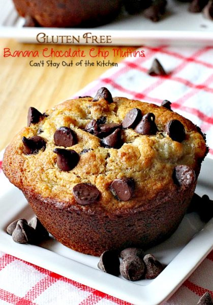 Gluten Free Banana Chocolate Chip Muffins | Can't Stay Out of the Kitchen | wow your company with these sensational #muffins for your next #holiday #breakfast. This #glutenfree version of a family favorite is amazing. #chocolate #bananas