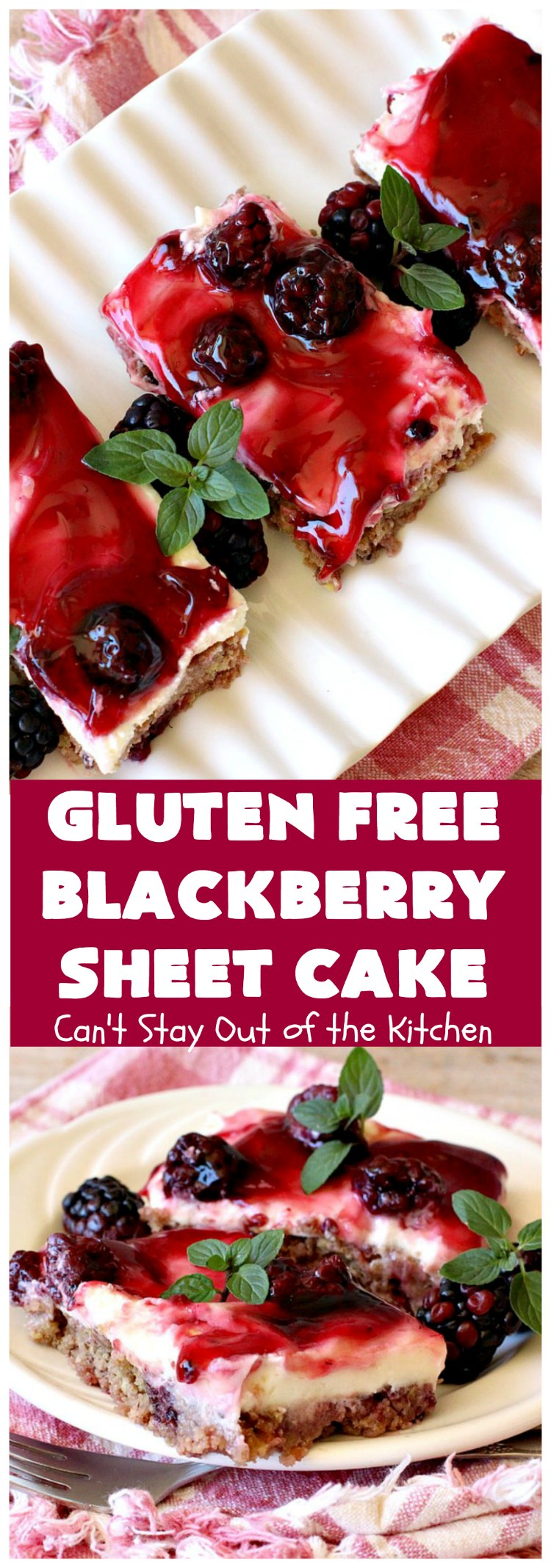 Gluten Free Blackberry Sheet Cake | Can't Stay Out of the Kitchen | your family will never believe this spectacular #cake is #GlutenFree! It's made with #BlackberryPieFilling & has a #CreamCheese icing to die for. Great for the #holidays. #dessert #SheetCake #HolidayDessert #GlutenFreeBlackberrySheetCake