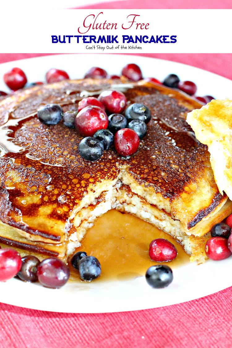 Gluten Free Buttermilk Pancakes served with maple syrup is a healthy ...