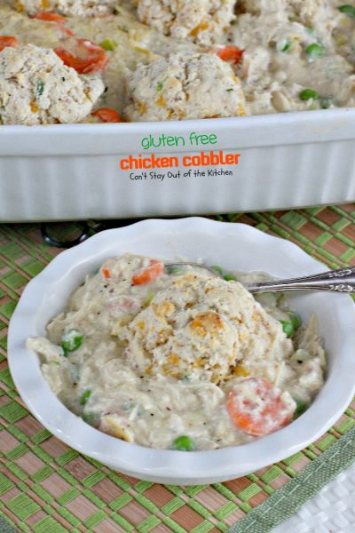 Gluten Free Chicken Cobbler | Can't Stay Out of the Kitchen | fabulous #chicken #potpie recipe with #peas, #carrots and homemade #glutenfree #biscuits.