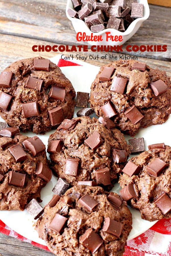 Gluten Free Chocolate Chunk Cookies | Can't Stay Out of the Kitchen | these awesome #cookies are the perfect #dessert for #MemorialDay, backyard barbecues or other summer fun. #chocolate #tailgating #glutenfree