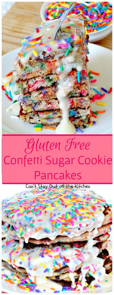 Gluten Free Confetti Sugar Cookie Pancakes | Can't Stay Out of the Kitchen | these awesome #pancakes taste like #sugarcookies with a lot of #sprinkles but in pancake form! Amazing #holiday #breakfast recipe too. #glutenfree