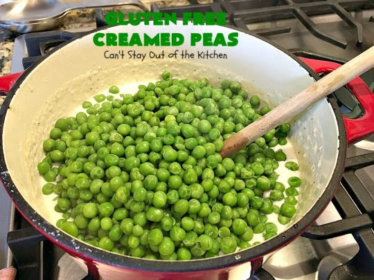 Gluten Free Creamed Peas | Can't Stay Out of the Kitchen | this delicious #sidedish takes less than 10 minutes to prepare. That makes it perfect for #holiday or company meals when you're short on time. The flavors are amped up with a little #Creole seasoning. So delicious. #Cajun #peas #glutenfree #creamedpeas