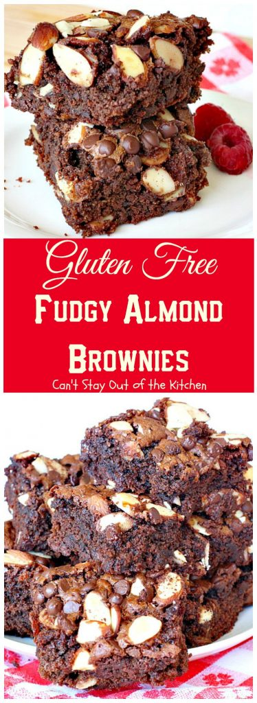 Gluten Free Fudgy Almond Brownies | Can't Stay Out of the Kitchen