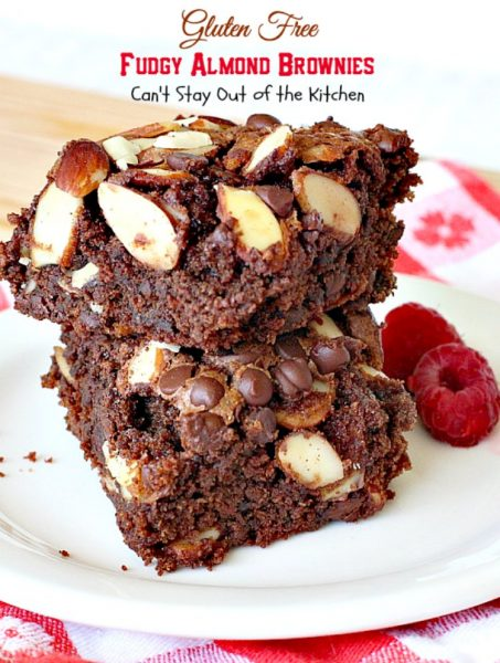 Gluten Free Fudgy Almond Brownies | Can't Stay Out of the Kitchen | these sensational yet healthy #brownies use #glutenfree flour, coconut sugar & a healthier #chocolatechip plus 90% #chooclate & #almonds in the batter. We loved them. #dessert