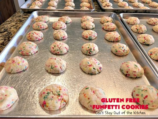 Gluten Free Funfetti Cookies | Can't Stay Out of the Kitchen | these marvelous #cookies use only 5 ingredients! They are terrific for #Christmas cookie exchanges, #holiday parties, birthdays or anytime you want to make a #glutenfree #dessert for friends or family.