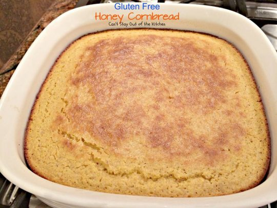 Gluten Free Honey Cornbread | Can't Stay Out of the Kitchen | healthier #cleaneating version of classic #cornbread. Great with soups or chili. #glutenfree