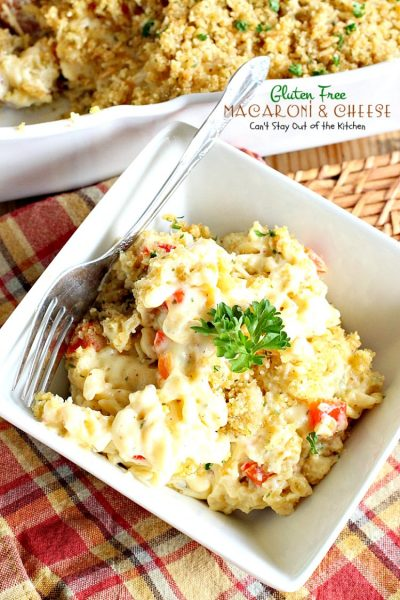 Gluten Free Macaroni & Cheese | Can't Stay Out of the Kitchen | one of the BEST #Mac&Cheese dishes you'll ever eat. Very creamy sauce uses cream, half-and-half and 3 #cheeses! #glutenfree #macaroniandcheese