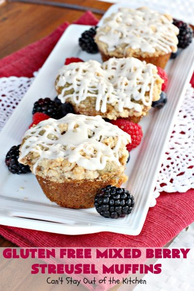 Gluten Free Mixed Berry Streusel Muffins | Can't Stay Out of the Kitchen | these fantastic #muffins are filled with #blueberries, #raspberries, #blackberries & #strawberries. They're topped with a delicious #walnut streusel & iced with a vanilla glaze. They make up one mouthwatering #muffin for a weekend, company or #holiday #breakfast. #GlutenFree #GlutenFreeMuffins #GlutenFreeMixedBerryStreuselMuffins