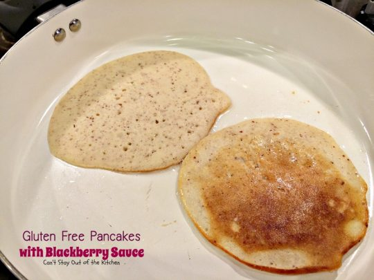 Gluten Free Pancakes with Blackberry Sauce | Can't Stay Out of the Kitchen | You will soon be drooling after one bite of these delicious #pancakes. The #blackberry sauce is awesome. #breakfast