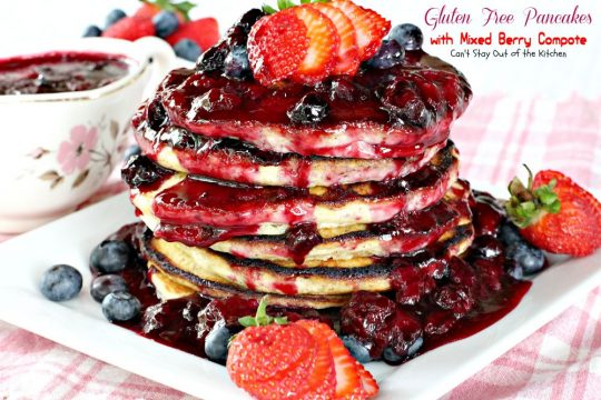 Gluten Free Pancakes with Mixed Berry Compote | Can't Stay Out of the Kitchen | these sensational #pancakes are great for #holidays and special occasions. Healthy version with honey, #blackberries, #strawberries and #blueberries. #glutenfree #breakfast