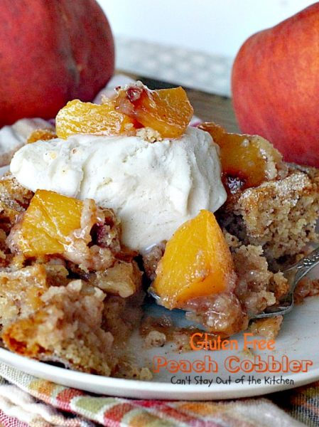 Gluten Free Peach Cobbler | Can't Stay Out of the Kitchen | this delight #peachcobbler recipe is made with #glutenfree flour for a new take on an old favorite. #peaches #dessert