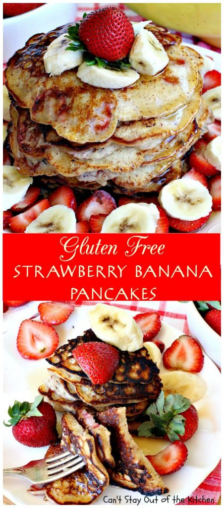 Gluten Free Strawberry Banana Pancakes | Can't Stay Out of the Kitchen