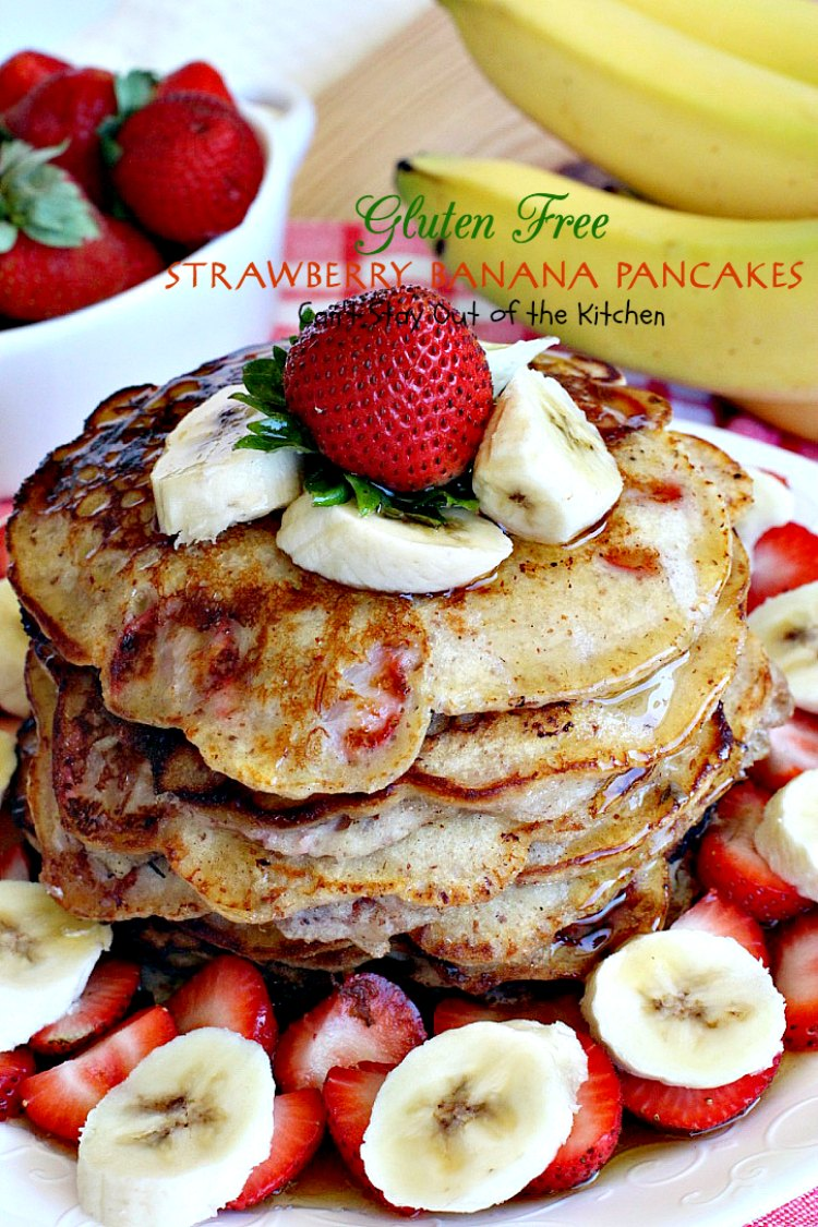 Gluten Free Strawberry Banana Pancakes | Can't Stay Out of the Kitchen | these lovely #pancakes are filled with both #strawberries and #bananas. Healthy, #glutenfree recipe that's great for a #holiday #breakfast.
