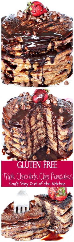 Gluten Free Triple Chocolate Chip Pancakes | Can't Stay Out of the Kitchen | these awesome #pancakes taste like eating #dessert! #chocolatechips, #cocoa and #chocolate sauce make for one of the richest most decadent #breakfast entrees you'll ever eat! #glutenfree
