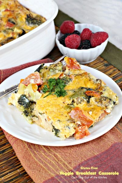 Gluten Free Veggie Breakfast Casserole | Can't Stay Out of the Kitchen | fabulous souffle-style #breakfast #casserole filled with several #veggies and #cheese. #glutenfree #MeatlessMonday