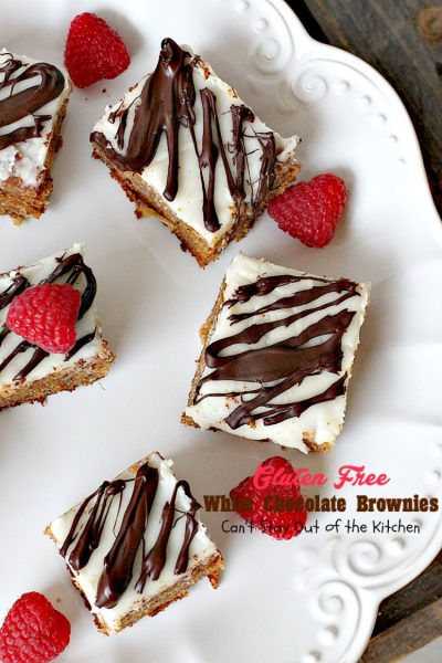 Gluten Free White Chocolate Brownies | Can't Stay Out of the Kitchen | these amazing #fudgy #brownies are made with #Ghirardelli white #chocolate. Great for #tailgating! #glutenfree #dessert