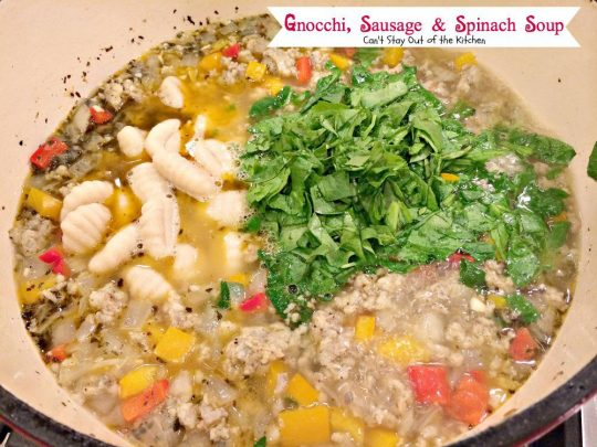 Gnocchi, Sausage & Spinach Soup | Can't Stay Out of the Kitchen | delicious #glutenfree #soup. #spinach #sausage #gnocchi