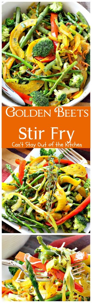 Golden Beets Stir Fry | Can't Stay Out of the Kitchen | phenomenal #MeatlessMonday dish with #beets, #asparagus, #greenbeans, #broccoli & #zucchini. Healthy, low calorie, #glutenfree & #vegan.