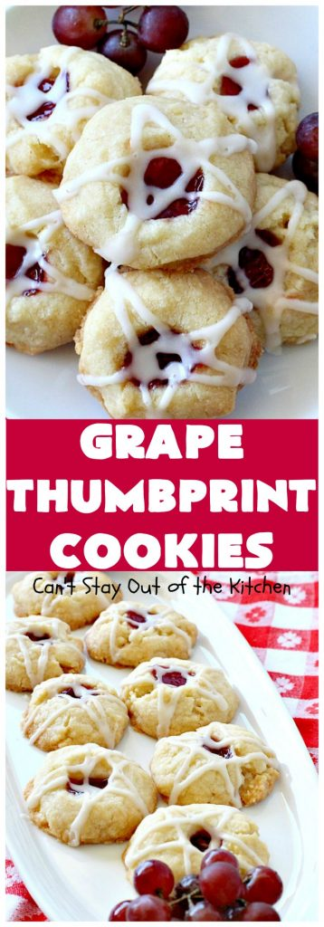 Grape Thumbprint Cookies | Can't Stay Out of the Kitchen | these amazing #cookies are filled with #grape jam & glazed with a powdered sugar icing. They're wonderful for any kind of #holiday or special occasion #baking. #dessert