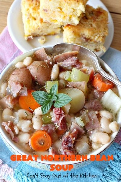 Great Northern Bean Soup | Can't Stay Out of the Kitchen | this is one of the BEST #HamAndBeanSoup #recipes I've ever eaten. This fantastic #GooseberryPatch #soup is hearty, filling, satisfying & irresistible comfort food. It's absolutely awesome served with #cornbread crumbed into it. Our company loved it! Great way to use up leftover #holiday #ham. #pork #GreatNorthernBeans #GreatNorthernBeanSoup #GlutenFree #ham #potatoes #carrots