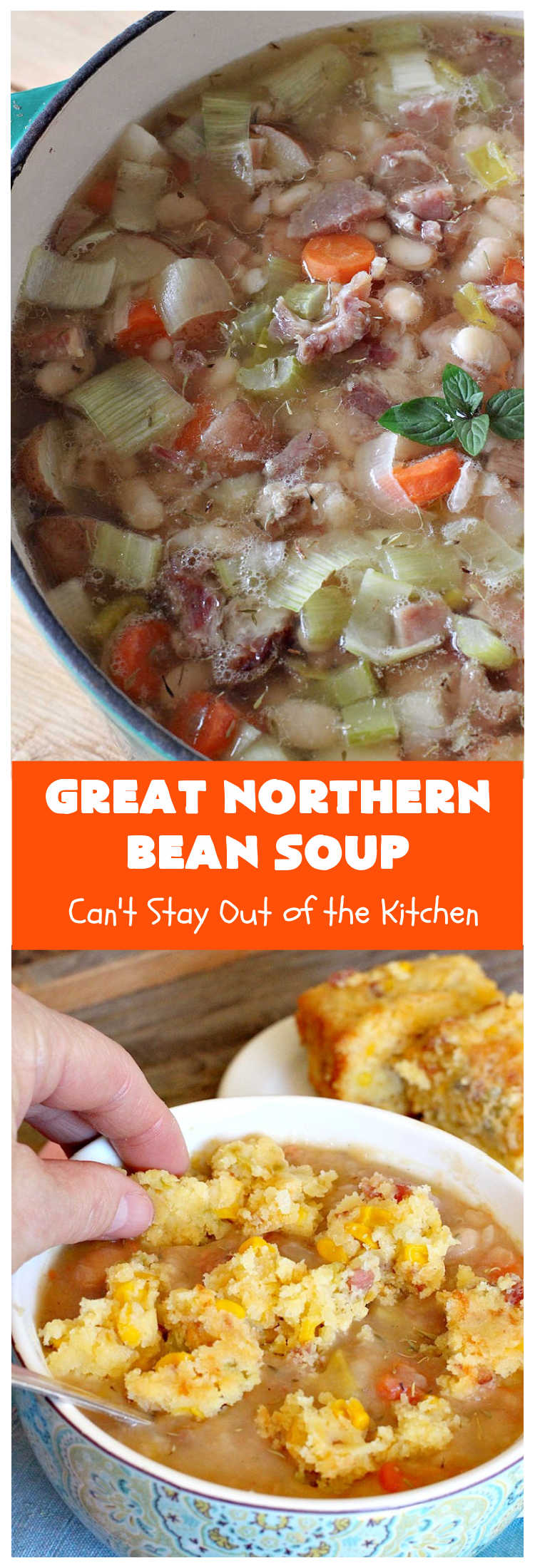 Great Northern Bean Soup   Can't Stay Out of the Kitchen   this is one of the BEST #HamAndBeanSoup #recipes I've ever eaten. This fantastic #GooseberryPatch #soup is hearty, filling, satisfying & irresistible comfort food. It's absolutely awesome served with #cornbread crumbed into it. Our company loved it! Great way to use up leftover #holiday #ham. #pork #GreatNorthernBeans #GreatNorthernBeanSoup #GlutenFree #ham #potatoes #carrots