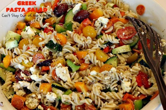 Greek Pasta Salad | Can't Stay Out of the Kitchen | my favorite #pasta #salad. This one has a #Greek flair with #pepperoni #olives #avocados & #fetacheese. I used #glutenfree noodles. Absolutely amazing!