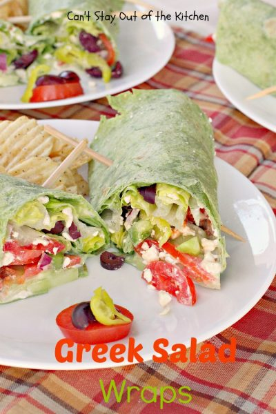 Greek Salad Wraps | Can't Stay Out of the Kitchen