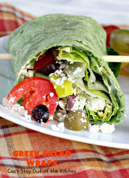 Greek Salad Wraps | Can't Stay Out of the Kitchen | these outrageous #Wraps have all the deliciousness of #GreekSalad but wrapped up like a #sandwich. They are absolutely heavenly & a terrific way to get our kids to eat more veggies! #tailgating #FetaCheese #KalamataOlives #Tomatoes #pepperocini #GreekSaladWraps #MeatlessMonday #Vegetarian #salad #GreekSaladSandwiches