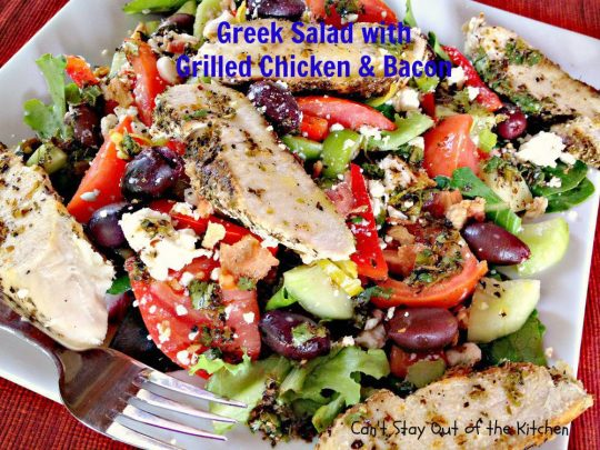 Greek Salad with Grilled Chicken and Bacon - IMG_3669