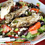 Greek Salad with Grilled Chicken and Bacon   Can't Stay Out of the Kitchen   this amazing #GreekSalad contains both grilled #chicken & #bacon. The flavors are wonderful & the #saladdressing is superb. This is a terrific way to dress up #Greek #Salad. #olives #Fetacheese #pepperocini #glutenfree