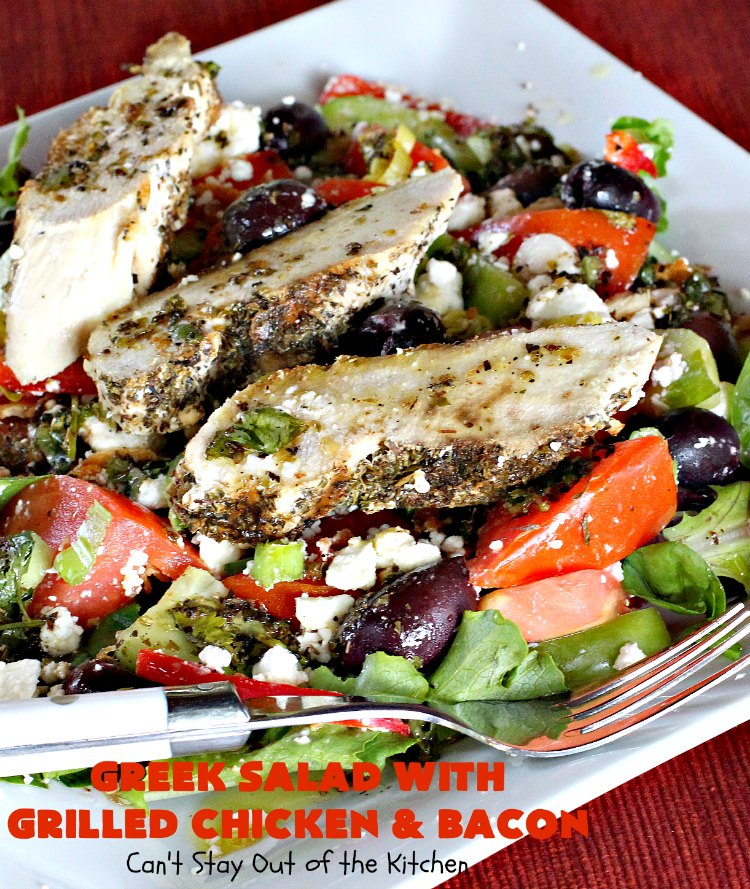 Greek Salad With Grilled Chicken and Bacon