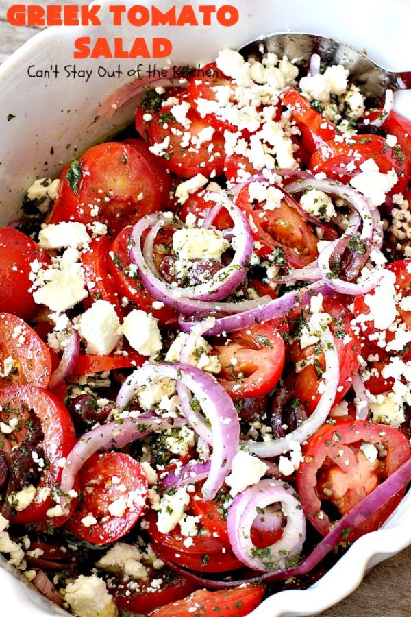 Greek Tomato Salad   Can't Stay Out of the Kitchen   this quick & easy #GreekSalad #recipe can be whipped up in 10 minutes. It's a delicious #sidedish for any meal. We serve it a lot for company because it gets rave reviews. #tomatoes #Greek #olives #salad #FetaCheese #glutenfree