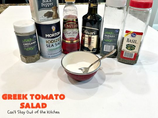 Greek Tomato Salad | Can't Stay Out of the Kitchen | this quick & easy #GreekSalad #recipe can be whipped up in 10 minutes. It's a delicious #sidedish for any meal. We serve it a lot for company because it gets rave reviews. #tomatoes #Greek #olives #salad #FetaCheese #glutenfree