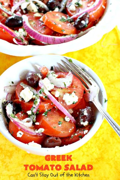 Greek Tomato Salad | Can't Stay Out of the Kitchen | this #fantastic #GreekSalad is awesome! The homemade #salad dressing is irresistible. This easy salad is terrific as a side dish for potlucks, backyard #BBQs or even company or #holiday dinners like #MemorialDay or #LaborDay. #tomatoes #olives #fetacheese #glutenfree