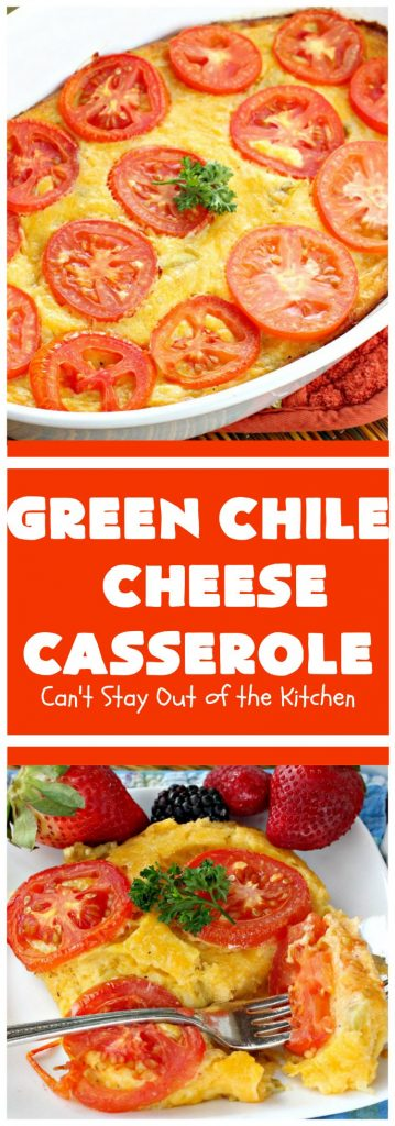 Green Chile Cheese Casserole | Can't Stay Out of the Kitchen | this is a fabulous #BreakfastCasserole to wake up to on a #holiday morning like #Thanksgiving, #Christmas or #NewYearsDay. It's got #TexMex flavors & filled with 2 cheeses & #eggs. Also good to serve for #MeatlessMondays. #CheddarCheese #MontereyJackCheese #GreenChilies #holiday #HolidayBreakfast #brunch #GlutenFree #GlutenFreeBreakfastCasserole #breakfast #GreenChileCheeseCasserole
